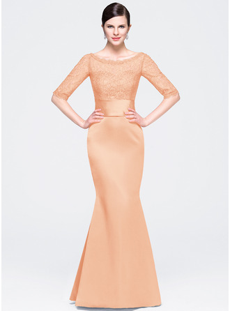Trumpet/Mermaid Scoop Neck Floor-Length Satin Lace Evening Dress