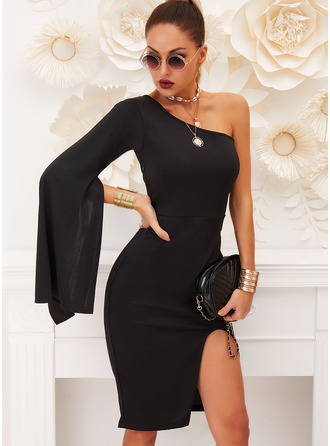Solid Sheath Flare Sleeve Long Sleeves Split Sleeve Midi Little Black Party Dresses