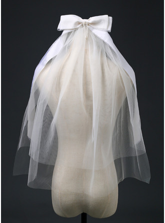Duas camada Corte da borda Cotovelo véus nupciais com Fita