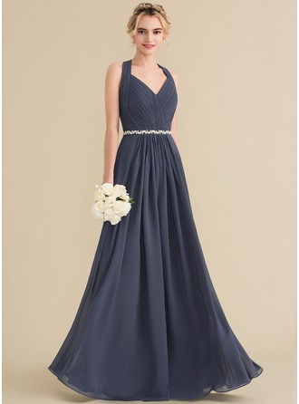A-Line/Princess V-neck Floor-Length Chiffon Prom Dresses With Ruffle Beading Bow(s)