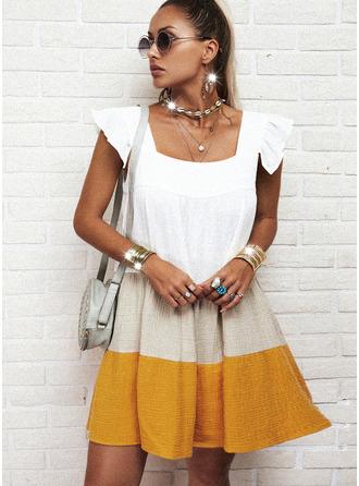 Colorido Vestidos soltos Manga Meia Cava Mini Casual Túnica Vestidos na Moda