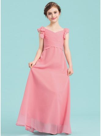 Empire-tyylinen V-kaula-aukko Lattiaa hipova pituus Sifonki Nuorten morsiusneito mekko jossa Rypytys Laskeutuva röyhelö