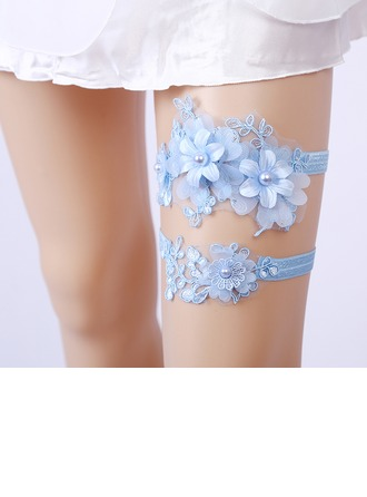 2-Piece/Elegant Lace With Flower/Rhinestone Wedding Garters