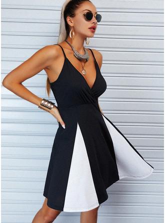 Color Block A-linjeklänning Ärmlös Mini Fritids skater Typ Modeklänningar