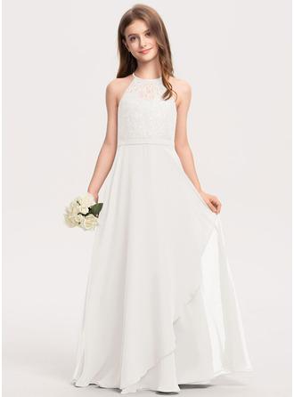 A-Linie U-Ausschnitt Bodenlang Chiffon Spitze Kleid für junge Brautjungfern mit Gestufte Rüschen