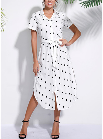 PolkaDot A-line Short Sleeves Midi Casual Vacation Dresses
