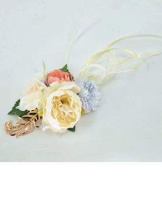 Девчушки Ручная работа Атлас/Металл/шелковые цветы Букетик на запястье - Букетик на запястье