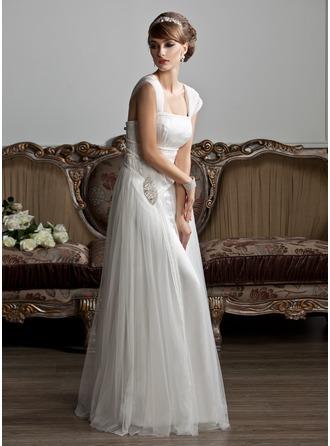 Forme Princesse Encolure carrée Longueur ras du sol Tulle Robe de mariée avec Plissé Emperler
