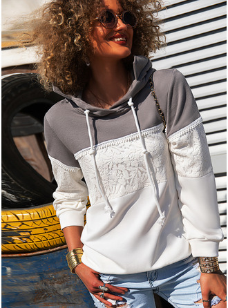 Color Block Floral Lace Print Long Sleeves Hoodie