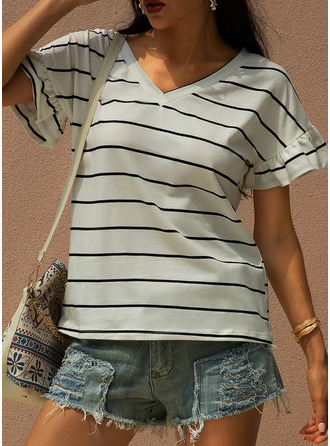 Striped Short Sleeves Cotton V Neck T-shirt Blouses