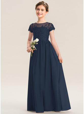 Çan Yuvarlak Yaka Uzun Etekli Şifon Dantel Küçük Nedime Elbisesi