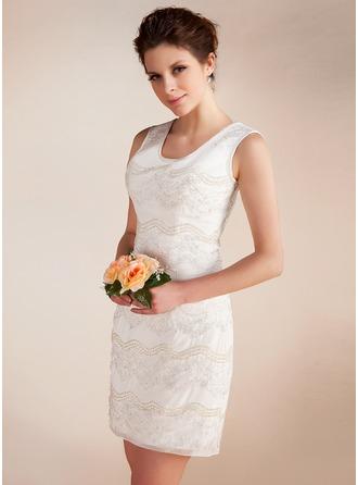 Sheath/Column Scoop Neck Short/Mini Chiffon Wedding Dress With Lace Beading