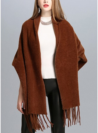 Solid Color/Tassel Cold weather Faux Fur Poncho