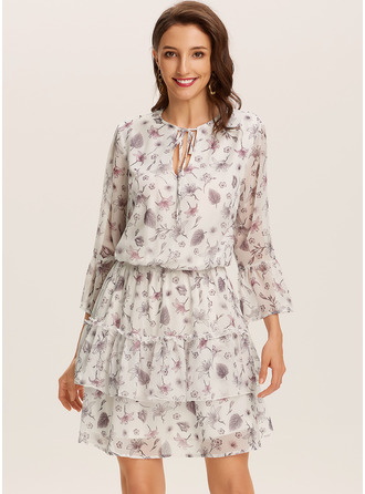 Kjole med A-linje V-hals Polyester Mode kjoler