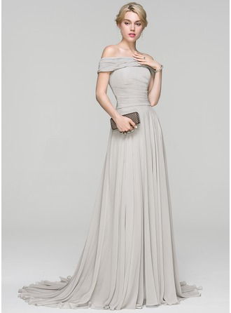 A-Line/Princess Off-the-Shoulder Court Train Chiffon Prom Dress With Ruffle