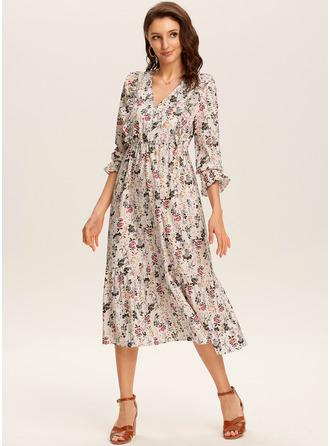 Midi V neck Polyester Print 3/4 Sleeves Fashion Dresses