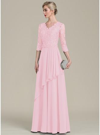 A-Linie/Princess-Linie V-Ausschnitt Bodenlang Chiffon Spitze Kleid für die Brautmutter mit Perlstickerei Pailletten Gestufte Rüschen