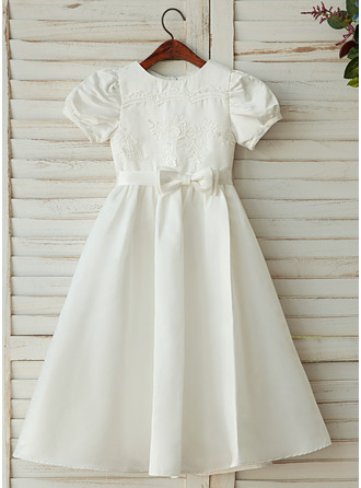 A-Line/Princess Ankle-length Flower Girl Dress - Satin/Lace Sleeveless Scoop Neck