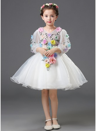 Ball Gown Knee-length Flower Girl Dress - Organza/Satin Long Sleeves V-neck With Ruffles/Flower(s)