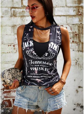 Print V-Neck Sleeveless Casual Tank Tops