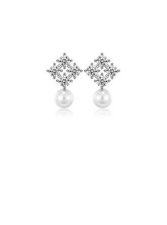 Senhoras Faíscas 925 prata esterlina/Zirconia cúbico Zirconia cúbico Brincos Para Ela