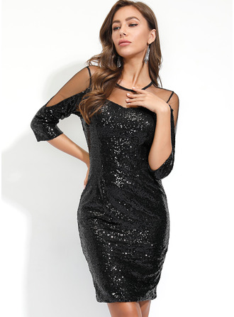 Sequins Sheath Long Sleeves Midi Little Black Party Dresses