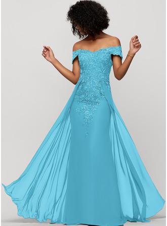 Sheath/Column Off-the-Shoulder Floor-Length Chiffon Evening Dress With Sequins
