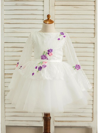 A-Line/Princess Knee-length Flower Girl Dress - Satin/Tulle Long Sleeves Scoop Neck With Sash/Flower(s)
