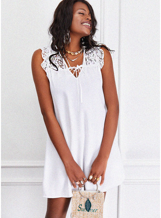 Lace Solid Shift Sleeveless Mini Casual Dresses