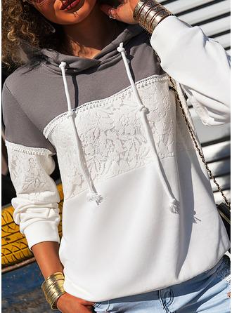 Color Block Floral Lace Print Long Sleeves Hoodie