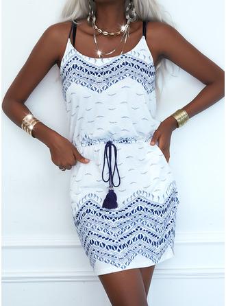 Print Sheath Sleeveless Mini Casual Type Dresses