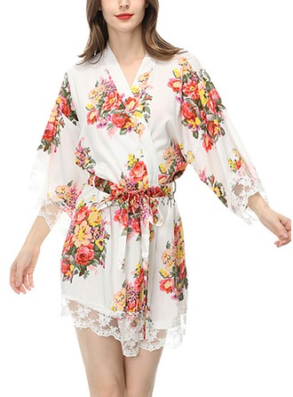 Bride Bridesmaid Flower Girl Cotton With Short Floral Robes