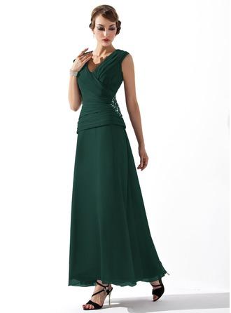 A-Linie/Princess-Linie V-Ausschnitt Knöchellang Chiffon Kleid für die Brautmutter mit Rüschen Perlen verziert