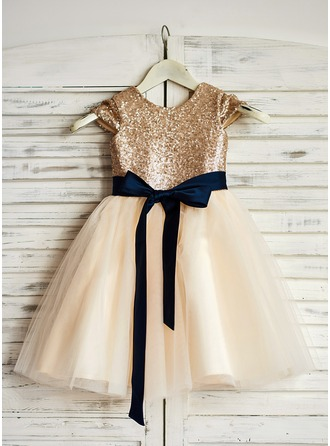 Princesový Po kolena Flower Girl Dress - Tyl/Sequined Bez rukávů Scoop Neck S Šerpy