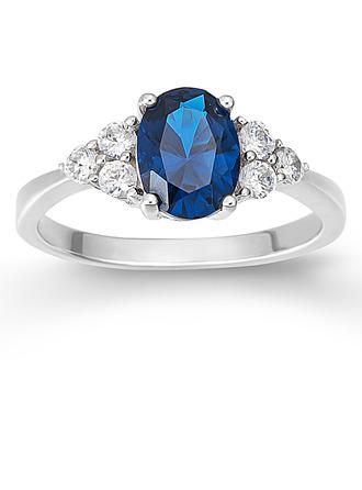 Sterling zilver Zirconia Sierlijk TROS Ovale Snit Verlovings ringen Belofte ringen