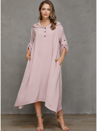 Solid Shift Long Sleeves Asymmetrical Casual Dresses