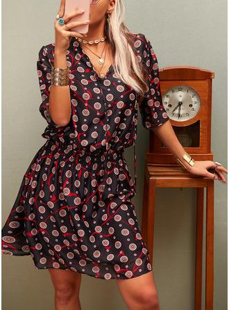 Print A-line 3/4 Sleeves Mini Casual Elegant Skater Dresses