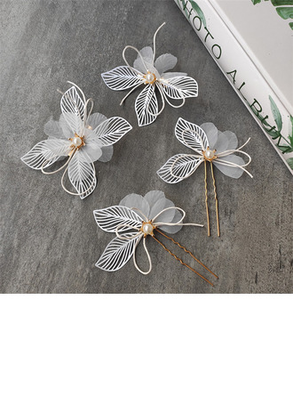 Pretty Alloy/Voile Hairpins With Venetian Pearl (Set of 8)