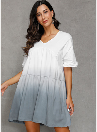 tiefärg Color Block A-linjeklänning Korta ärmar Midi Fritids Semester Modeklänningar