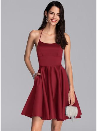 Corte A Decote quadrado Curto/Mini Cetim Vestido de boas vindas