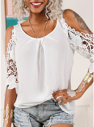 Lace Solid Cold Shoulder 3/4 Sleeves Casual Elegant