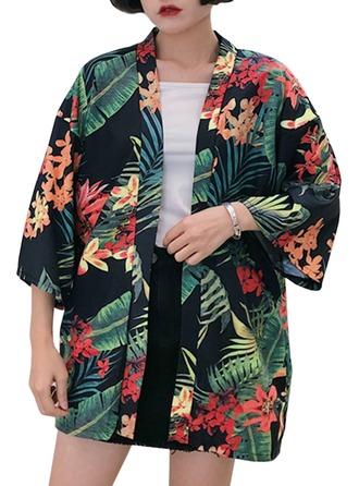 Brud Brudepike Polyester med Kort Blomsterklær Kimono robes