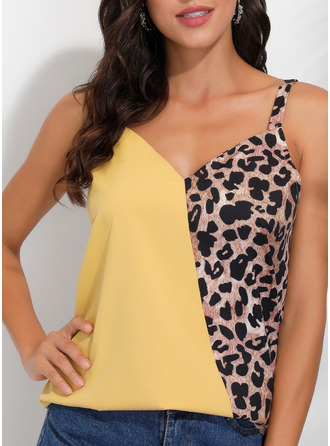 Leopard Patchwork Spaghetti Straps Sleeveless Casual Tank Tops