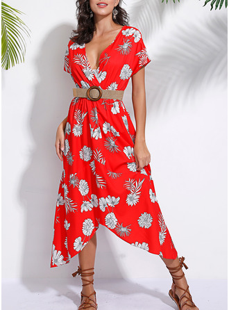 Floral Print A-line Short Sleeves Maxi Casual Dresses
