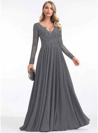 A-Line V-neck Floor-Length Chiffon Evening Dress