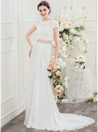 Trumpet/Sjöjungfru Rund-urringning Sweep släp Chiffong Spets Bröllopsklänning