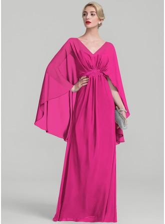 A-Line/Princess V-neck Floor-Length Chiffon Evening Dress With Ruffle Beading