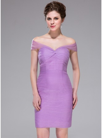 Sheath/Column Off-the-Shoulder Knee-Length Tulle Cocktail Dress With Ruffle