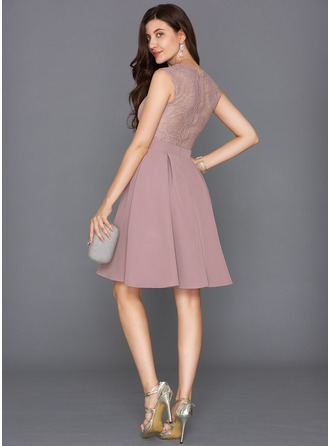 A-Line/Princess V-neck Knee-Length Satin Cocktail Dress
