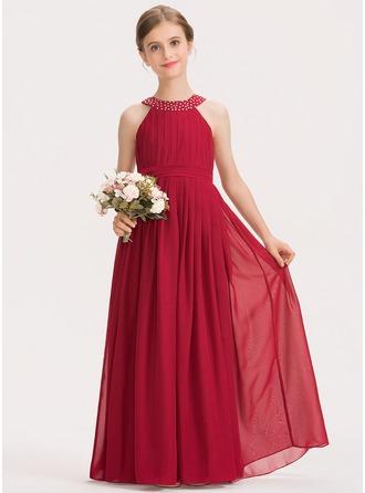 A-Linie U-Ausschnitt Bodenlang Chiffon Kleid für junge Brautjungfern mit Rüschen Perlstickerei Schleife(n)